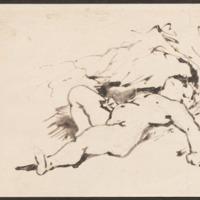 Reclining nude (recto)<br /> Initials (verso)
