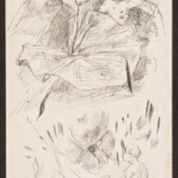 Misc.: couple, flowers, butterfly (recto)<br /> Misc.: flower, profile (verso)